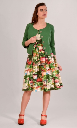 Jacket Les Petits Marriages Point de Riz green, short solid, collarless, scalloped front, sleeves ¾, ideal to accompany a dress