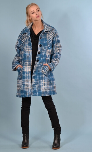 Manteau American Lady. Carreaux. Bleu