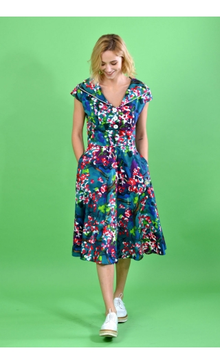 Robe sixties grand jupon La Bicyclette L'Heure Bleue