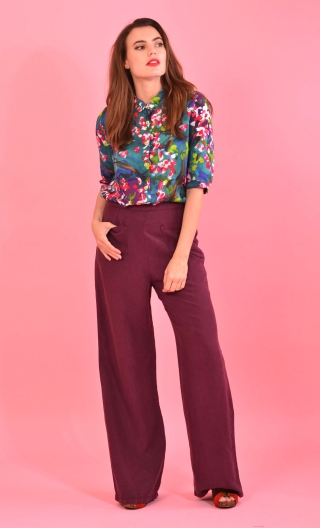 Pantalon Voyage Hippy Chic Raisin, fluidity and depth of colors, Grace, classy