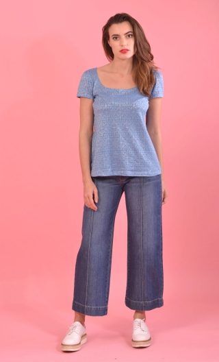 Jean Lollapalooza Denim Stone, short and wide , 7/8 length, with seventies charm!