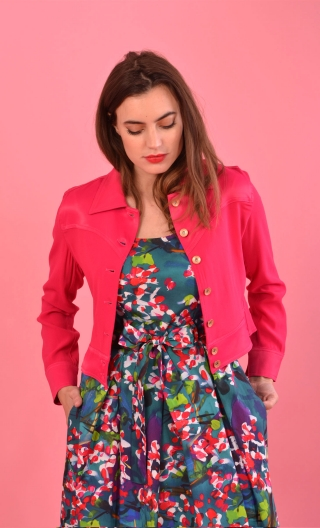 Blouson Roméo Merveilleuses Fushia, rock, short, with all the casual codes