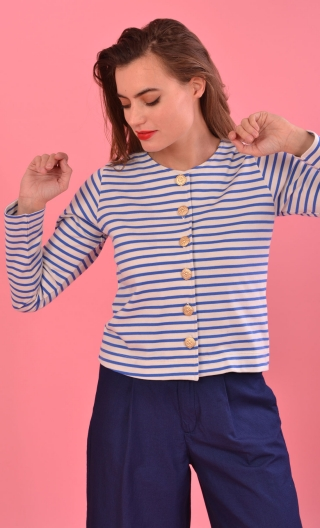 Cardigan Capucine Transat Matelot, short, striped, chic sailor look