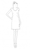 Dress Meringue Toscane with scalloped neckline and small sleeves, marked waist, open skirt, very elegant