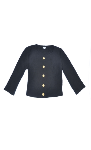 Jacket Les Petits Marriages Point de Riz Back, short solid, collarless, scalloped front, sleeves ¾, ideal to accompany a dress