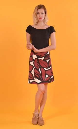 Jupe Libellule Trees, small print skirt, trapeze and short, zipped back, legend rock & sixties