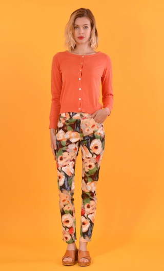 Pantalon Charlie Monet, printed 5 pocket trousers, slim, high waist.
