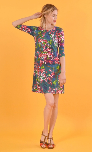 Robe Phil Heure Bleue, 60s silhouette, crew neck, elbow sleeves, trapeze line, sober and practical