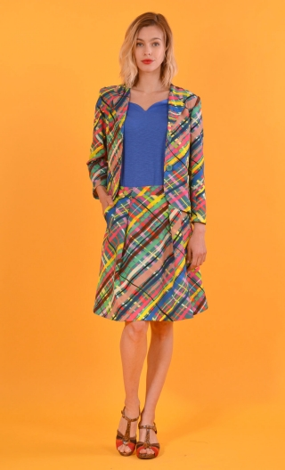 Veste La Croisette Glorious Pop, Stretch printed jacket, straight and short, with collar, slit back, patch pockets
