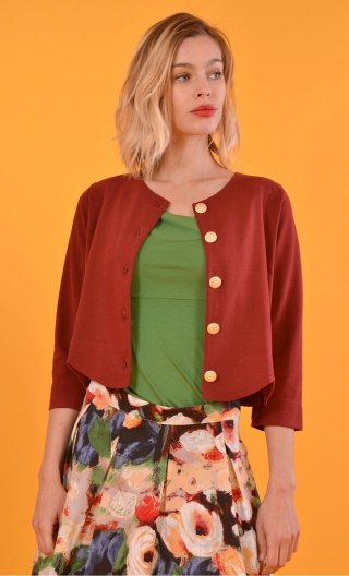 cardigan brown, short, scalloped around the waist, three quarter sleeve