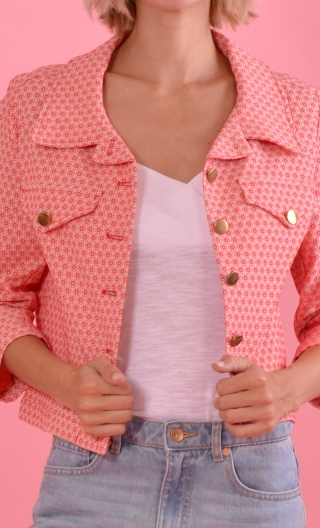 Veste Maman passe son Bac Tatie Bloom, Short and slim jacket, pointy collar and pocket flaps, three quarter sleeves
