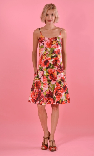 Robe Claudia Pivoines Rouge, Fine straps dress, fitted, strapless bustier, trapeze, pockets, knee length.