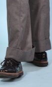 Pantalon Le Professeur Twill Gris, Men's style trousers, very long, wide lapel, pockets