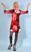 Robe Reviens-moi toujours Impératrice, printed stretch velvet dress, over-the-knee length, elbow sleeve.
