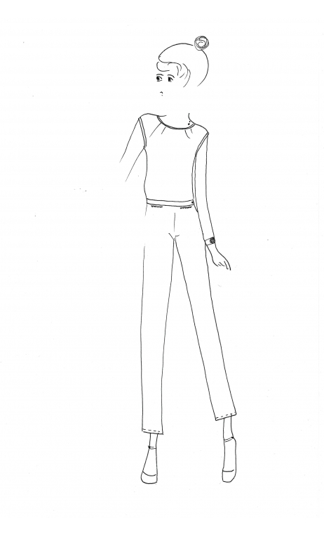 Pantalon Jules et Jim Grain de Poudre Black- Slim trousers, stretch, zip side, flat belly, small slit down, sixties