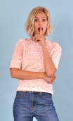 Top Cot'cotte Pops Pink and White, Jacquard knit top, crewneck, fitted, zip back, elbow sleeve, sixties