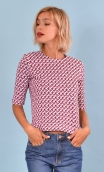Top Cot'cotte Pops Steps, Jacquard knit top, crewneck, fitted, zip back, elbow sleeve, sixties