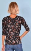 Top Fou Masqué Pops Blumen, Jacquard knit top, loose, scoop neck, ¾ sleeve.