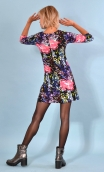 Robe Reviens-moi toujours Belladonna, printed stretch velvet dress, over-the-knee length, elbow sleeve.