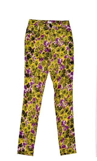 Pantalon Charlie Covent Garden Violet, printed trousers 5 pockets, stretch, slim, high waist.