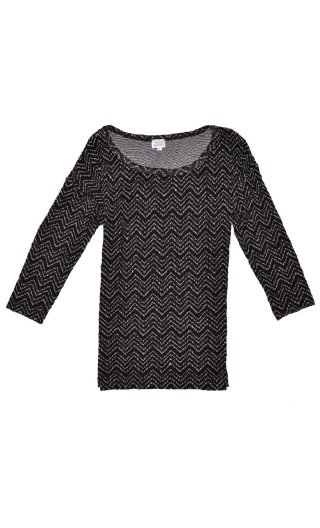 Top Fou Masqué Pops Black Hills, Jacquard knit top, loose, scoop neck, ¾ sleeve.
