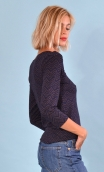 Top Pénélope Pops Hills blue, Jacquard knit top, glamorous, fitted, draped neckline front, manches sleeves, sixties.