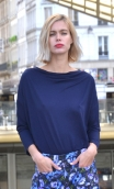 Top Brahms plain jersey navy blue, Plain jersey top, fluid, cowl neck, loose armhole, 3/4 sleeves.