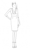 Robe Roue de la Fortune Milano Navy,Plain knit dress, fitted and straight, wrap-around ornated with buttons, 3/4 sleeves.