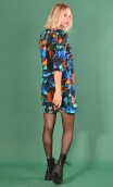 Robe Jess Cottage Turquoise, Printed stretch dress, trapeze skirt, above the knee, 3/4 sleeve.