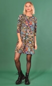 Robe Jess Palette du Peintre, Printed stretch dress, trapeze skirt, above the knee, 3/4 sleeve.