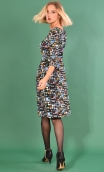 Robe Cahiers du Cinéma Murano, Printed knit dress, fitted waist, knee length, 3/4 sleeves