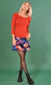 Jupe Camden Crazy Bloom Bleu Rouge, printed skirt trapeze and short, zipped back.