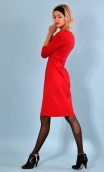 Robe Roue de la Fortune Red Milano ,Plain knit dress, fitted and straight, wrap-around ornated with buttons, 3/4 sleeves.