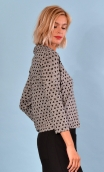 Top Hermione Pops Cats noir & blanc, jacquard knit top, faux-buttoned, loose, small collar and 3/4 sleeve.