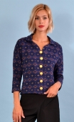 Top Hermione Pops Lights bleu, jacquard knit top, faux-buttoned, loose, small collar and 3/4 sleeve.