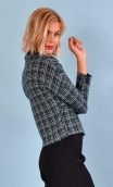 Top Hermione Pops New York vert, jacquard knit top, faux-buttoned, loose, small collar and 3/4 sleeve.