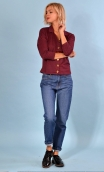 Top Hermione Pops Streaming violet orange, jacquard knit top, faux-buttoned, loose, small collar and 3/4 sleeve.