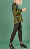 Shirt Utrillo Herbes Folles, printed tunic long and flared, slit side, buttons at mid-height, long sleeves and cuffs, pointed co