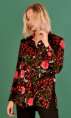 Shirt Utrillo Cache Cache, printed tunic long and flared, slit side, buttons at mid-height, long sleeves and cuffs, pointed coll