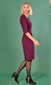 Robe La Nuit Américaine Milano Aubergine , Plain knit dress, straight and short sleeves, collar, buttoned strapless