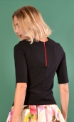 Top Cot'cotte Pops Bulles Black, Jacquard knit top, crewneck, fitted, zip back, elbow sleeve, sixties