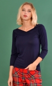 Top Pénélope Jersey uni navy blue Top in Plain jersey, glamorous, fitted, draped neckline front, manches sleeves, sixties.