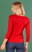 Top Pénélope Jersey uni Red Hermès, Top in Plain jersey, glamorous, fitted, draped neckline front, manches sleeves, sixties.