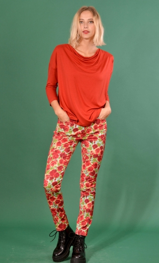 Pantalon Charlie Covent Garden Rouge, printed trousers 5 pockets, stretch, slim, high waist.