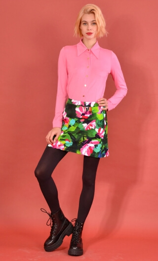 Jupe Gaby n'a pas froid Crazy Bloom green, Printed skirt velvet, trapeze and short, zipped back