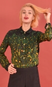 Shirt Elle lisait Sophocle Herbes Folles, printed long sleeves shirt with cuffs, fluid, mini rounded collar.