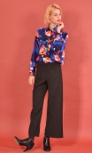Chemise Résiste Crazy Bloom Bleu rouge, Oversized print shirt, long sleeves with cuffs, pointed collar..