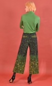 Pantalon Gus Herbes Folles, printed trousers, wide and a little short, stretch, flat profile, zip side, patch pockets back and f