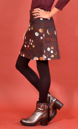 Jupe Libellule Le Temps qui Passe, small print skirt, trapeze and short, zipped back, legend rock & sixties