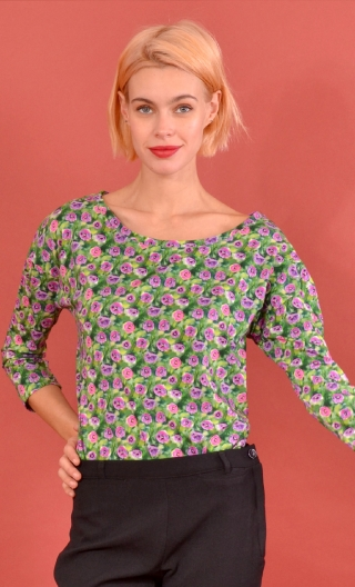 Top Fou Masqué Pavots, Jacquard knit top, loose, scoop neck, ¾ sleeve.